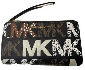 Michael Kors Jet Set Double Zip Phone Wristlet Wallet MK Signature Black Multi
