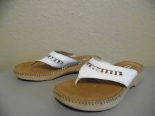 DR. SCHOLL'S White Leather T-Strap Sandals DOUBLE AIR-PILLO Insoles Size 9