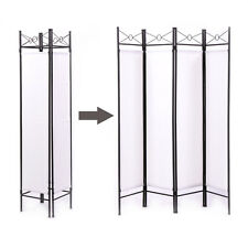 Room Divider Screen 4 Panel WH Folding Partition Privacy Room Decor Metal Frame