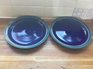 DENBY HARLEQUIN Dinner Plates X 2.Brand New Seconds.Blue/Green.