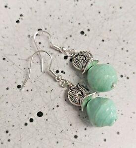 Spiral Silver Shell & Mint Green Bead Silver Tone Drop Earrings - *NEW*