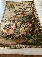 More details for vintage tapestry panel/wall hanging/fruit/tree and bird design - 64 x 100cm