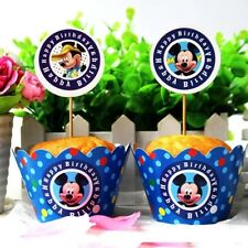 Mickey Mouse Cupcake Toppers 12pcs & Wrapapers 12pcs Party Decoration AU Stock