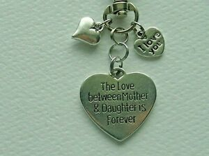 FAMILY LOVE BETWEEN MOTHER AND DAUGHTER KEY CHAIN CLIP FOR PURSE BACKPACK FOB