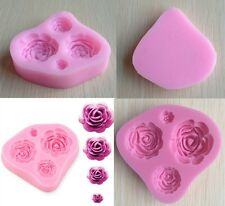 4 Cavities Silicone Rose Mould Sugar Craft Cake Decorating or Fimo Clay Moulds-Y