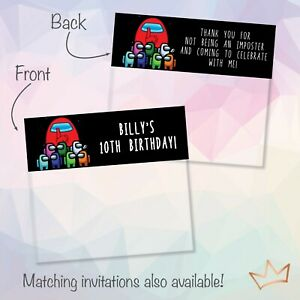 Personalised Among Us Party Loot Bag Toppers / Lolly Bags Topper