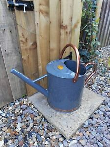 9 Litre French Grey & Rose Gold / Copper Metal Watering Can by Selections