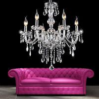élégant Lustre en cristal plafonnier 6 feux lampe luminaire pampilles Chandelier