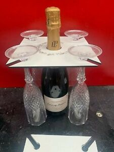 Prosecco Wine Glass Holder holds 4 glasses and bottle CHRISTMAS GIFTS
