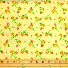 Freesia Yellow Print Fabric Cotton Polyester Broadcloth By The Yard 60""