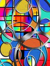 PITTURA Astratta Motivo Design Colori CERCHI ANELLI CROMATO Verificato Stampa bmp10871