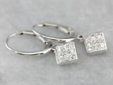 0.35 Ct Round Cluster Pave Diamond Square Drop Dangle Earrings 14K White Gold GP