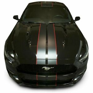 Matte Black Premium Mustang Dual Racing Stripes Rally (2015-2017 Ford Mustangs)