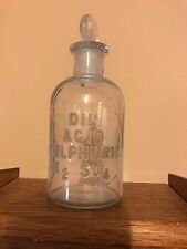 Old apothecary bottle jar Dil Sulphuric Acid with ground glass stopper