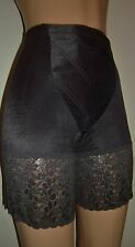 "EBONY SATIN SPANDEX W/ 6"" FANCY LACE LEG 16"" PANTY GIRDLE XL"