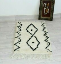 Authentic Beni Ourain White Rug Vintage Azilal Rug Moroccan Handwoven Wool Rug