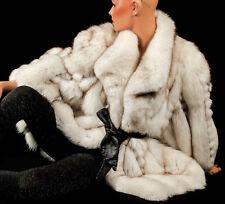 XL 2XL Blaufuchs white SAGA fox fur jacket renard Jacke weiß Fuchs Pelzjacke