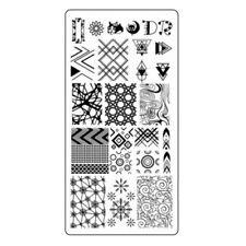 Geometric Stamping Schablone Linien Motive Dreieck Raute Stempel Platte#2