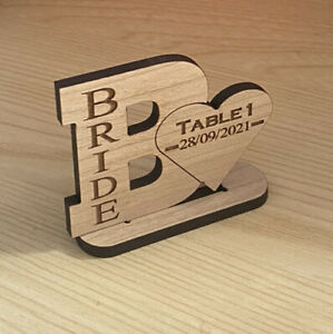 Personalised Wooden Heart Wedding table numbers / names Centrepiece Bride Hen Do
