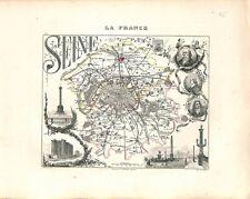 75. Seine département PARIS MAP ATLAS 1851