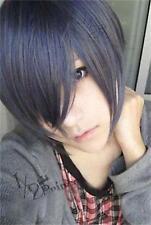 New Black Butler Ciel Kuroshitsuji Phantomhive Short Cosplay Wig mixed color