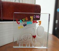 Spaceform Glass Minature Token Love You Mummy Elephant Birthday Keepsake Gift
