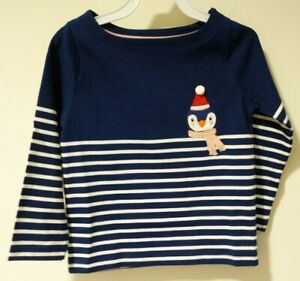 New W/Tags Mini Boden Navy Stripe Holiday Penguin Top Girl's Size 8-9