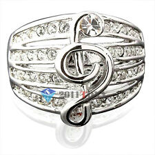 Musical Note Fashion Cocktail Rings 18K White GP Use Swarovski Crystal Jewellery