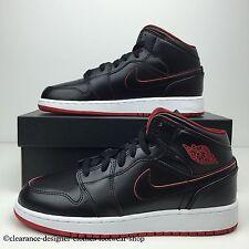 Nike Air Jordan 1 Mid Bg formadores Para Mujer Chicas Damas Negro Zapatos Uk 5.5 RRP £ 95