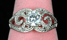 SOLID STERLING SILVER Cubic Zirconia Gemstone Victorian Style Ring US Size 10.5