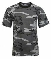 Wara Men's Camouflage Crew Neck Cotton T Shirt Grey