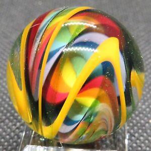 "Kelley Johnson 1.03"" Glass Marble (Yellow Double Curve) Bold Rainbow Sparkles"