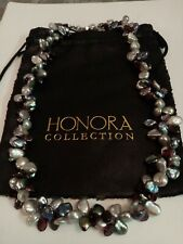 Honora Sterling Silver White Black Silver Blue Garnet Keshi Pearl Necklace