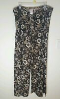 Disney Womens Sz 12 Brown Mickey Mouse Print Swimsuit Cover Sheer Palazzo Pants