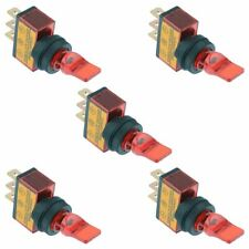5 x 12V Red illuminated On-Off Toggle Flick Switch SPST Auto Car