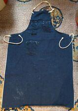 Vtg Indigo Dark Blue Denim Selvedge Work Apron 1950s Workwear Workshop Machinist