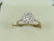 Diamond Cluster Ring 18ct White Gold Ladies Size J 1/2 750 2.3g Fe11