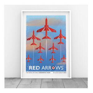 Red Arrows RAF Print - Original design Aerobatics Team Vintage plane Print only