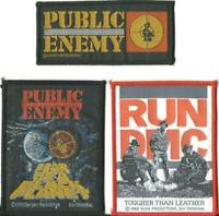 PUBLIC ENEMY RUN DMC fear 1990 logo 1989 leather 1988 3 x WOVEN SEW ON PATCHES