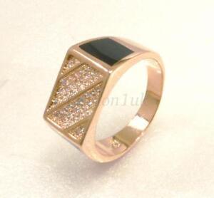 Men Black Luxury Ring Size R T V 18K Yellow Gold Plated CZ Cubic Zirconia UK