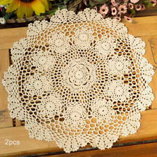 "15"" Round Hand Crochet Beige Cotton Lace Table Placemats Doilies 2pcs/lot"