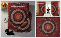 Indian Maroon Reversible Mandala Duvet Cover + Curtains + Bed Sheet + Pillow Set