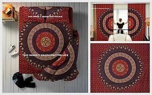 Indian Maroon Reversible Mandala Duvet Cover + Curtains + Bed Sheet + Pillow Set