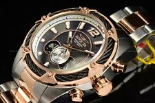 Invicta Mens 52mm Bolt Rose Gold Black Dial Chronograph Two Tone Bracelet Watch