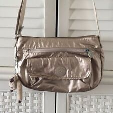 Kipling Pewter Gold Metallic Crossbody Bag Purse Travel