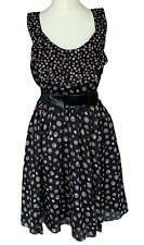 *BNWOT* TED BAKER Black Button Print Quirky Summer Dress Sz 1 / UK 8 / b27