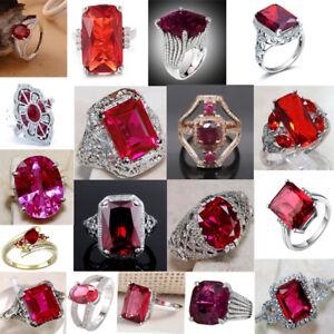 Women Elegant Ruby Rings 925 Silver Diamond Red Sapphire Gemstone Jewelry Ring