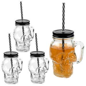 4er-Set 3D Totenkopf Glas Trinkglas Trinkbecher mit Deckel und Strohhalm 350 ml