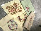 5 Vintage Finished Floral Tapestry Needlepoint Designs Chair Bench Stool Covers