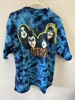 Vintage Kiss Concert T-Shirt Shirt Size XL X-Large Tie Die Metal Rock Band Gene